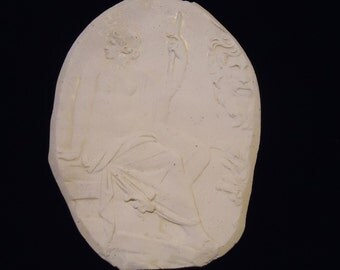 Rare, Old Artisan Made Plaster of Paris Oval Wall Plaque/Stencil/ Mold in Raised Classical Roman/Greek Design of a Seated Nude Woman Goddess