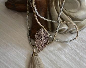 Sliver leaf natural colour tassel necklace