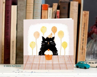 Cute  birthday card with cat and balloons, funny birthday card, happy birthday, animal card, birthday party, birthday cake, black and orange