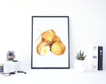 Potato Print, Food Wall Art for Kitchens, Vegetable Print, Kitchen Food Print, Food Paintings Art, Poster Kitchen, Vegetable Art