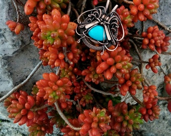Natural Turquoise pendant. Wire wrapped pendant. Wire wrapped jewelry. Copper wire pendant. Jewelry wire wrap