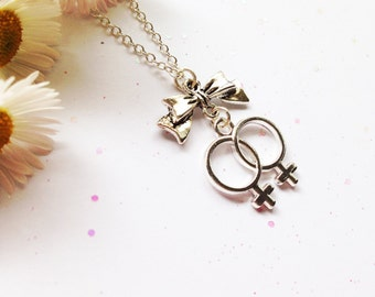 Double Venus Lesbian Necklace with Bow