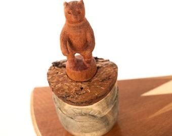 Bear Spirit Vessel, unique with bluestain pine base and spanish cedar bear totem