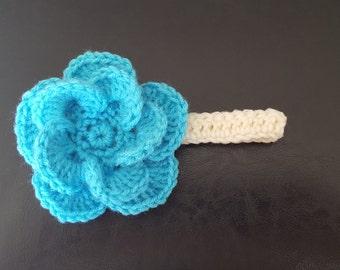 Baby Crochet Headband, Infant Crochet Headband, Baby Girls Headband, Big Flower Baby headband, Toddler Headband, Blue Flower Headband