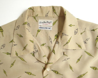 1950's beautiful men's silk shirt with very rare dobber print and it's XL