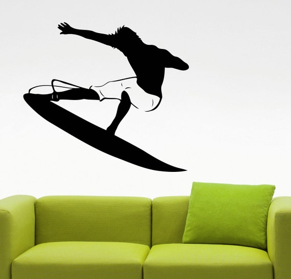surfing wall sticker surfer decal home interior design living
