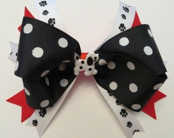 Dalmation Puppy Dog Bow #AB125