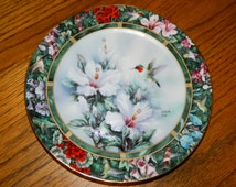 """Vintage""""The Ruby-Throated Hummingbird""""-First Edition Plate-Lena Liu's-Hand Crafted Vintage Collectible Plate-w/ Certificate of Authenticity-"""