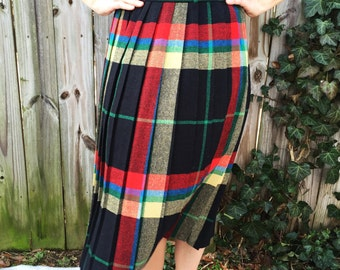 S A L E || Vintage A-Line Pleated Midi Skirt || Wool Plaid Skirt