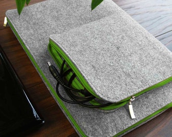MACBOOK LAPTOP SLEEVE Felt Notebook Cover with Green Zipper and Charger Pocket All Sizes Avaliable