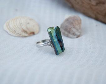 Teal quartz ring, Green titanium ring, Raw green quartz ring, Titanium quartz ring, Bohemian ring, Gypsy ring, Ethnic ring, Raw crystal ring
