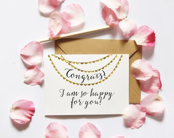 Congrats card, Congratulations Card Printable, Printable Card, Gold Confetti Card For Her, DIY Crafts, Card Making, Digital Instant Download
