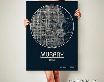 MURRAY Utah CANVAS Map Murray Utah Poster City Map Murray Utah Art Print Murray Utah poster Murray Utah map art Poster Murray Utah map