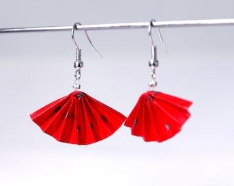 Origami Fan Earrings / Boucles d'oreille en origami