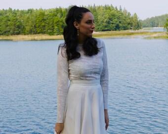 Lace wedding dress, modest wedding dress, long sleeve wedding dress, bohemian wedding dress, ivory wedding dress, boho wedding dress,wedding