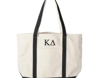 Kappa Delta Large Canvas Tote Bag,  Kappa Delta Beach Bag, Kappa Delta College Book Bag, Kappa Delta Tote, KD Beach Bag