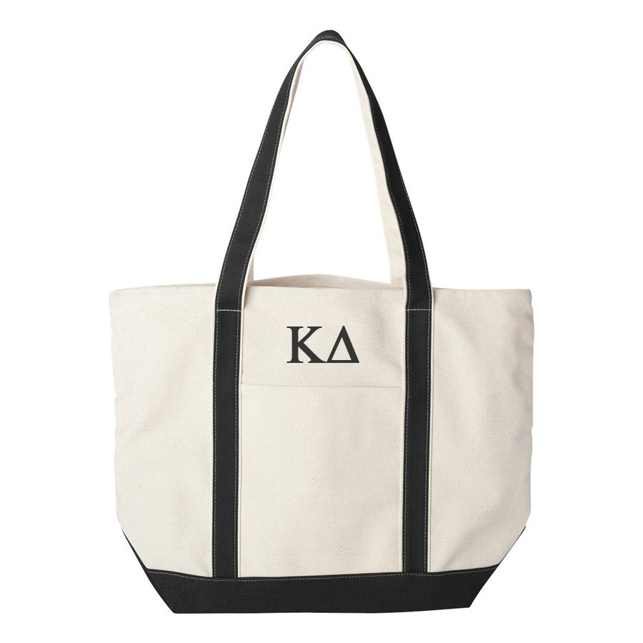 kappa delta large canvas tote bag kappa delta beach bag kappa delta college book bag kappa delta tote kd beach bag