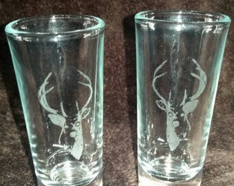 Deer Etched Glass Shot Glass