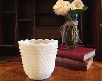 White Milk Glass Vase, King Fire Milk Glass Planter, Milk Glass Pot,  White Vase, Anchor Hocking Planter, White Planter, White Pot