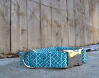 Preppy Geometric Teal and White Dog Collar