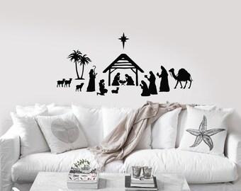 Nativity Scene vinyl decal/sticker for your wall, window, etc.
