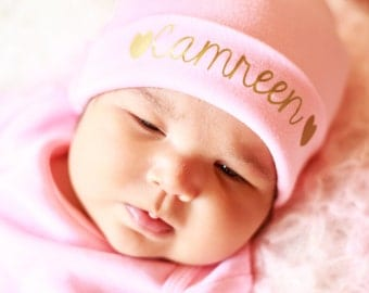 Pink newborn Girl name hat...newborn baby hat...pink newborn hat...new baby hat...baby girl hat...take home hat...newborn photo prop hat