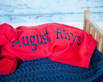Red Personalized newborn boy gown.newborn boy red and navy blue.baby boy take home outfit...newborn boy hospital outfit, hat sold separately