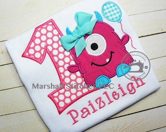 Birthday Monster Shirt/ Girl Birthday Monster/ Monster Applique Shirt