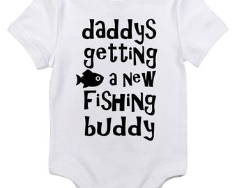 Daddys getting a fishing buddy! Baby Onesie Pregnancy Announcement/Handmade/Made to Order