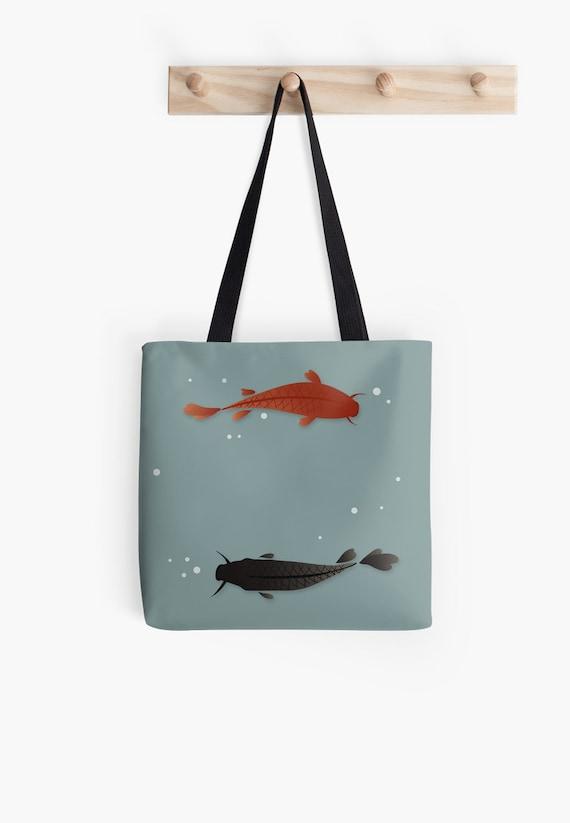 Koi fish tote bag japanese handbag fabric bag black strap for Koi fish purse