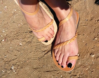Leather Sandals, handmade genuine leather, Braided sandal