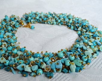 Turquoise Statement Beaded Necklace, Beadwoven Blue Necklace, Beadwork, Semiprecious Beading Necklace, Holiday Necklace, Gift for Her