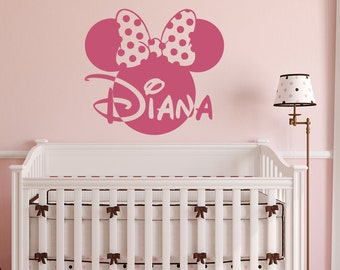Girl Wall Decals- Minnie Mouse Head Wall Decal- Wall Decals For Girls Bedroom- Personalized Baby Name Wall Decal- Minnie Mouse Decor 092