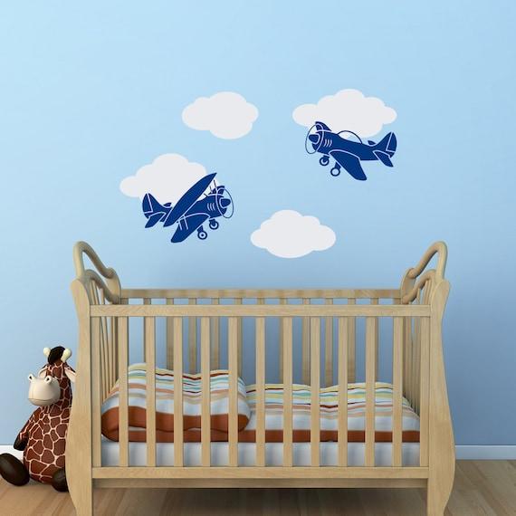 Airplane Wall Decor Nursery : Airplane wall decal boy nursery cloud