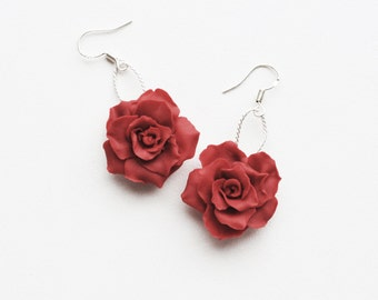 Red Rose Earrings, Polymer clay earrings, Red roses Jewelry, Red flower earrings, red earrings, Just rose earrings, passion rose, one rose