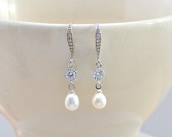 Bridal earrings pearls-Arielle-Bridal earring pearl-jewelry wedding-wedding-earrings Pearl freshwater
