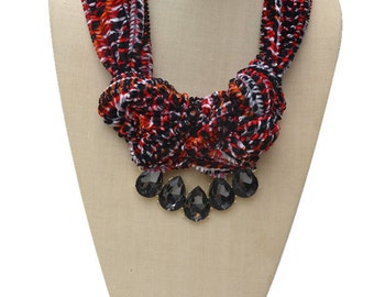Red Fabric Glass Beaded Necklace