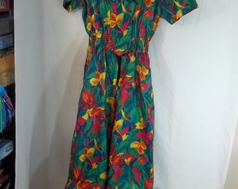 Jumpsuit Vintage 1980's Hawaiian Print Size 10
