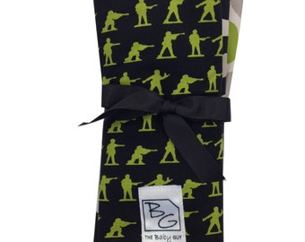 Military 3 Piece Burp Cloth Set Black Green