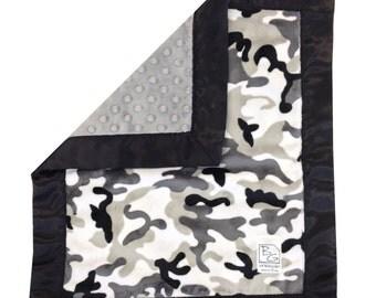 Grey Camo Security Blanket Minky Grey Black