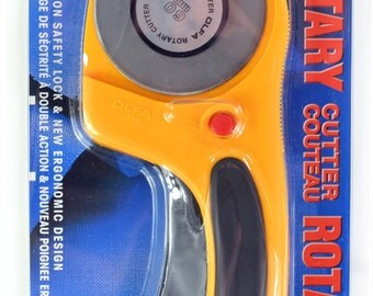 Olfa Deluxe Large 60mm Rotary Cutter - Dual Action Safety Lock - Tungsten Blade