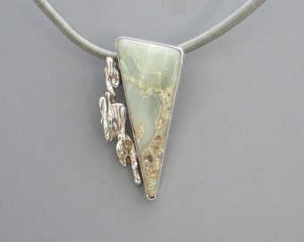 Triangular Jade/Agate Pendant with Broomcast Silver