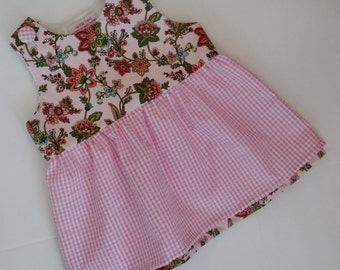 Baby girl dress, handmade, pure cotton, exclusive, 12-18 mos, sleeveless, fully lined, gathered skirt, pink, white, flowers, summer, Easter