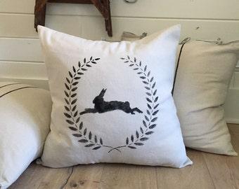Farmhouse Floor Pillows - Rabbit Pillow - Grain Sack Pillow - Large Pillows