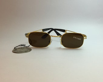 Vintage Unused Oxydo Sunglasses Brown and Gold - Customizable