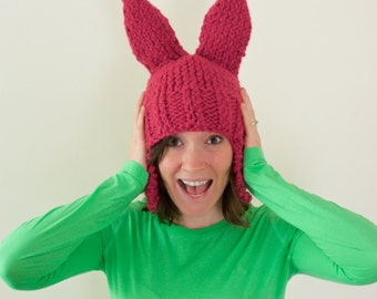 Pink Bunny Ear Knit Hat * Adult Size *