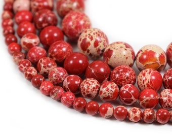 """Natural Sea Sediment Jasper Beads 4m 6mm 8mm 10mm Round Red Imperial Impression Stone, 15.5"""" Full Strand, Wholesale"""