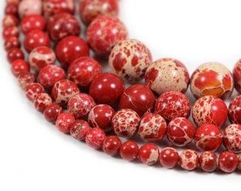 "Red Sea Sediment Jasper Beads 4m 6mm 8mm 10mm Regalite Round Imperial Impression Stone, 15.5"" Full Strand, Wholesale"