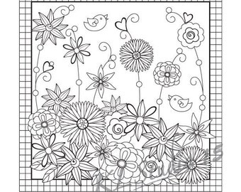 happy spring coloring page instant download relax coloring page to color for adults - Spring Coloring Pages For Adults