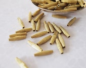 20 Metal Long Tube Bicone Fluted Beads Brass Size 15 x 3.5mm